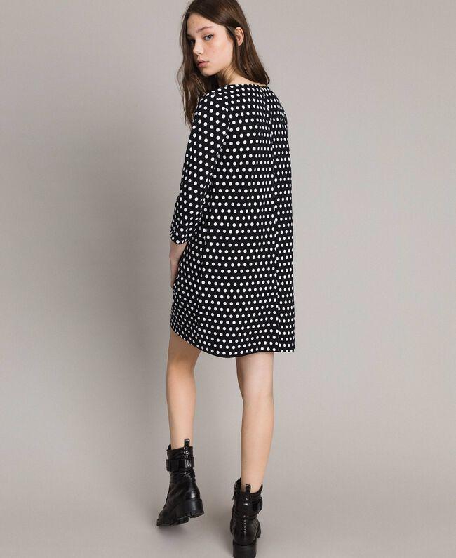 Robe à pois avec broche nœud Bicolore Noir / Blanc Femme 191MP2361-03