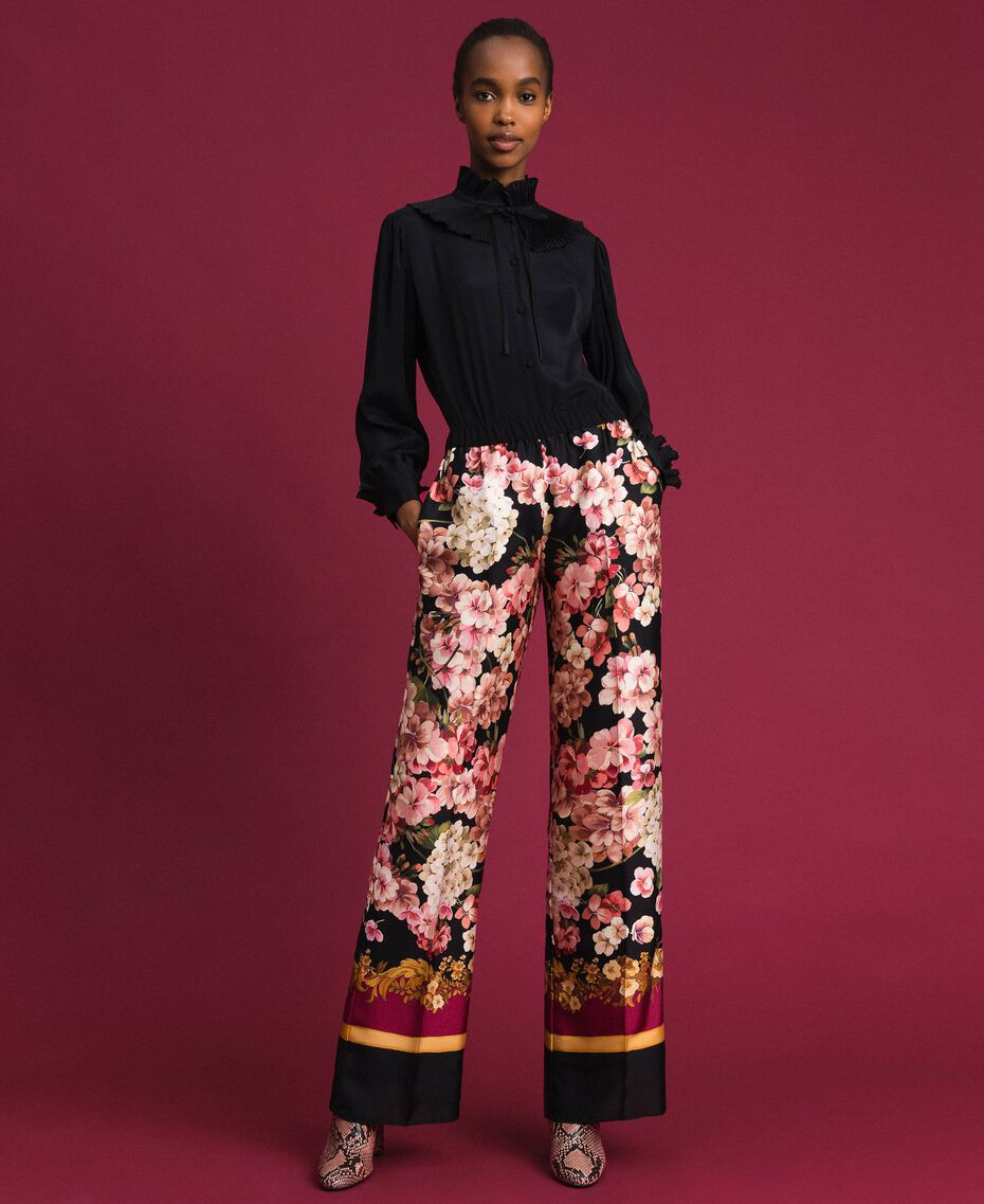 Palazzo trousers with floral scarf print Scarf Print Woman 192TP2605-02