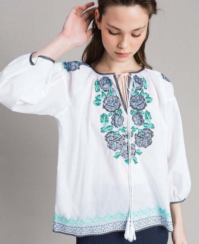 Flounced blouse with cross stitch embroideries White Woman 191MT2062-04