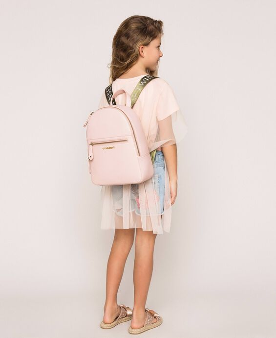Faux leather backpack with pocket