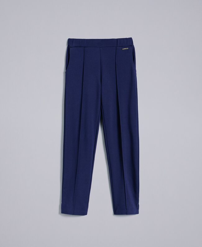 Hose aus Interlock-Jersey Blackout Blau Kind GA82F1-01