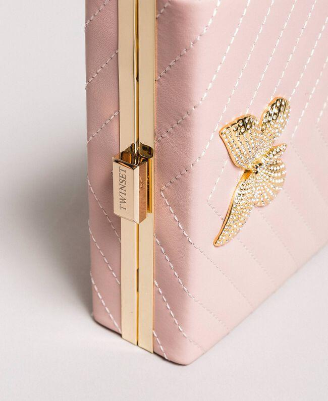 Matelassé leather clutch bag Pink Pearl Woman 191TA7196-04