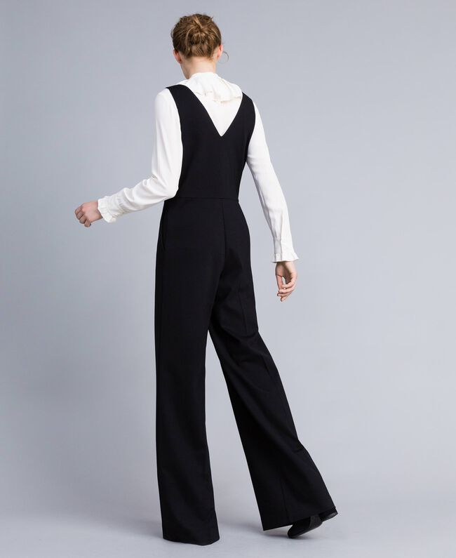 "Sleeveless jumpsuit with silk blend shirt Bicolour Black / ""Snow"" White Woman PA8212-03"