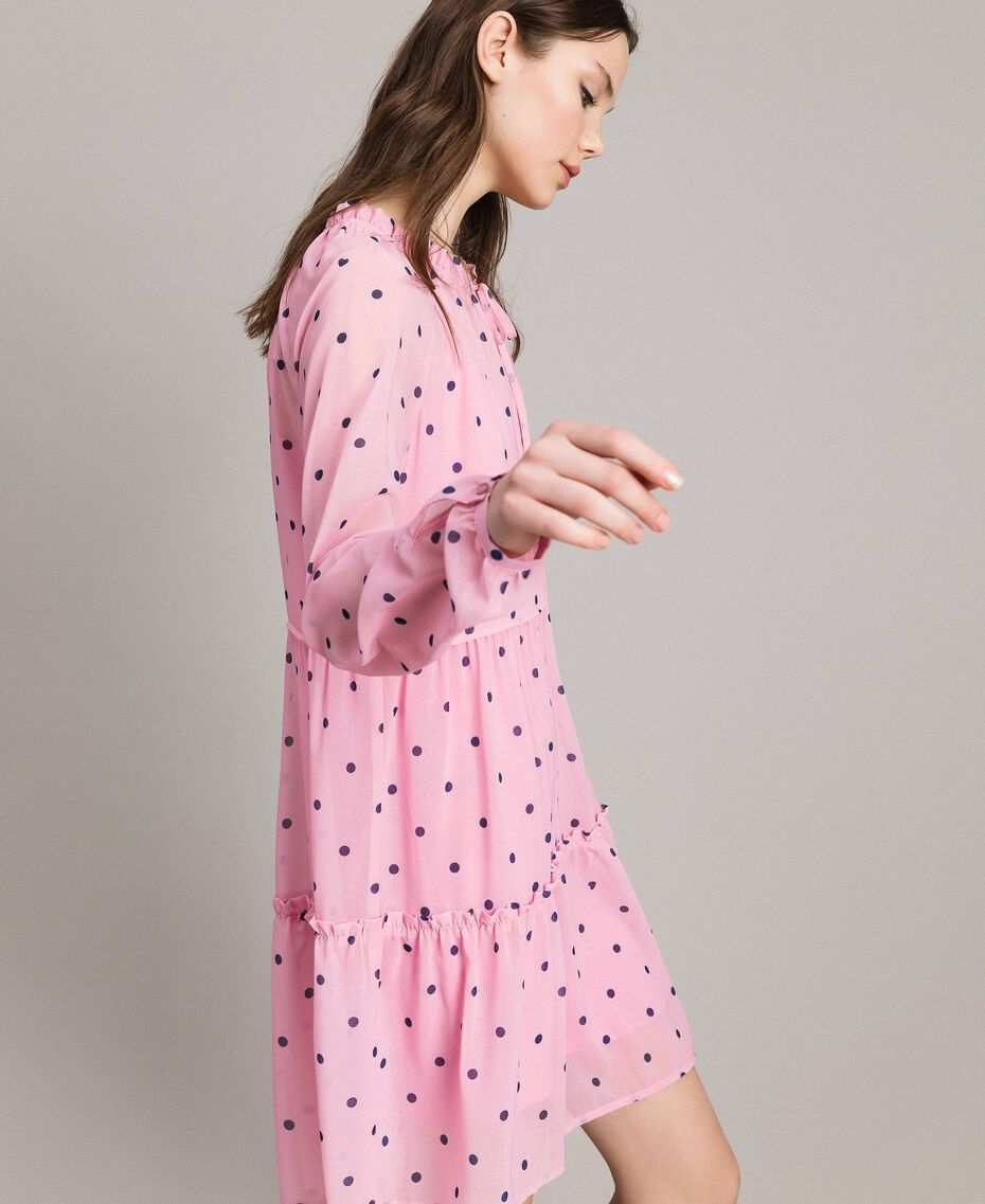 Georgette polka dot dress with flounces Hydrangea Pink Heart Polka Dot Print Woman 191MP2336-02