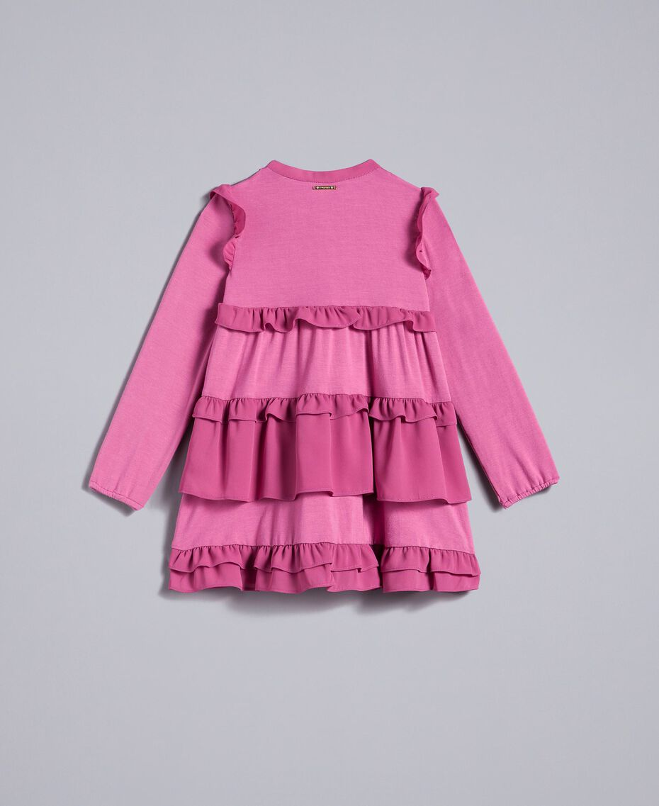 Flounced georgette dress Pink Bouganville Child FA82H1-0S