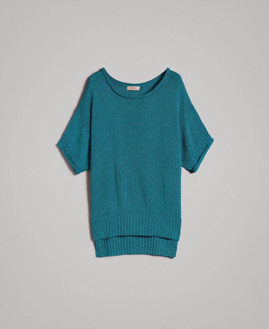 Pull oversize avec fentes Bleu Céramique Femme 191TT3150-0S
