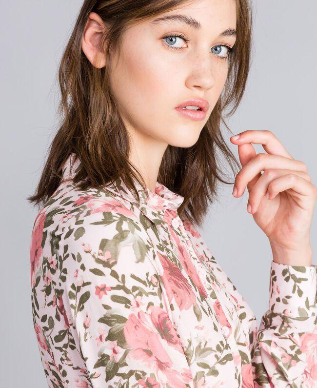 Rose print viscose blouse Cloud Rose Pink Rose Print Woman JA82PN-01
