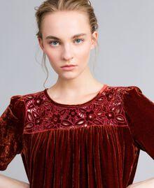 Vestido tipo túnica de terciopelo Bordeaux Mujer PA823B-04