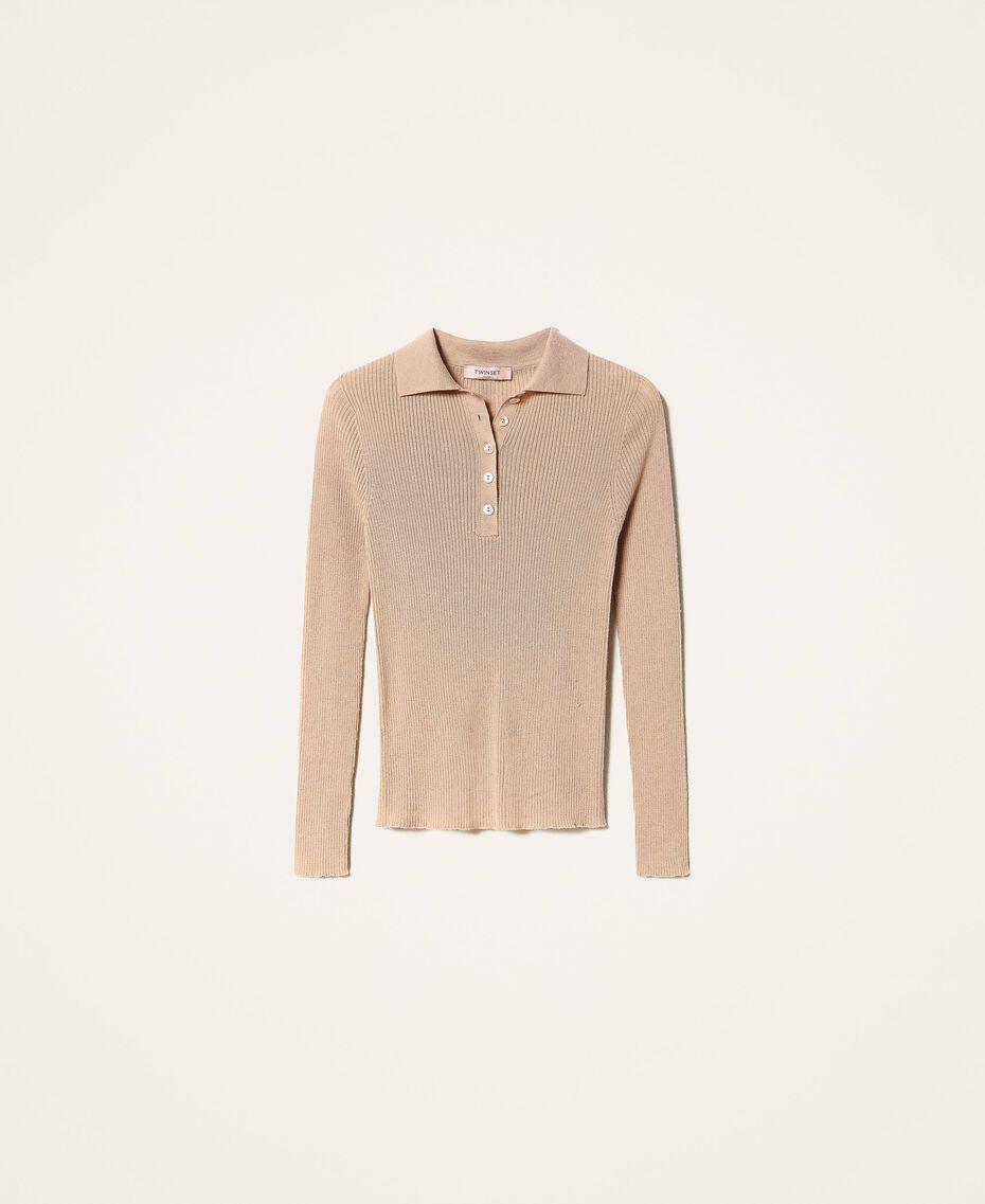 Maglia in lana a costine Bianco Neve Donna 202TT3080-0S