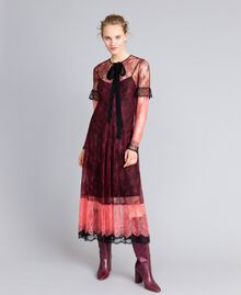 "Valencienne lace multi-colour long dress Burgundy Multicolour / ""Royal Pink"" Woman PA82FS-02"