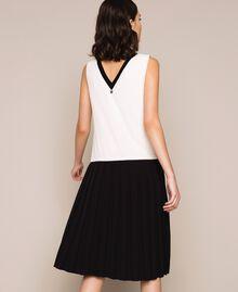 Robe longue en crêpe de Chine avec dentelle Bicolore Blanc «Soie»/ Noir Femme 201ST2010-04