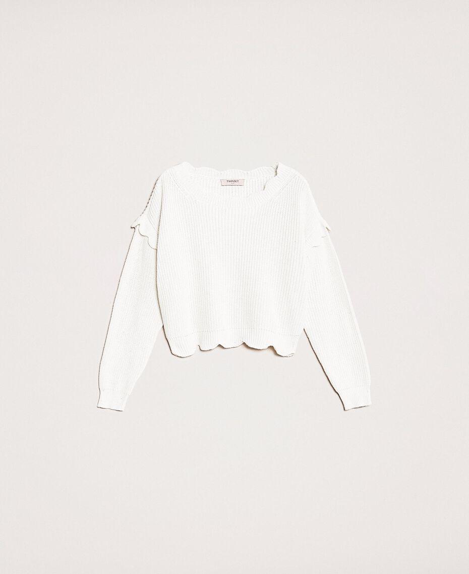 Пуловер квадратного кроя с фестонной отделкой Белый Снег женщина 201TP3021-0S