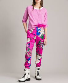 Floral satin jogging trousers Wind Flower Pink Print Woman 191TP2473-02