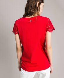 Printed T-shirt with lace Poppy Red Woman 191ST208A-03