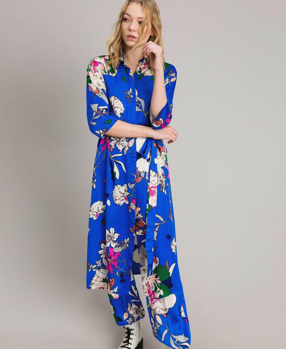 Satin-Hemd-Kleid mit Blumenmuster Motiv Windblumen Kornblumenblau Frau 191TP2454-02