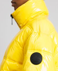 Patent leather effect short puffer jacket Yellow Woman 192MT2070-05