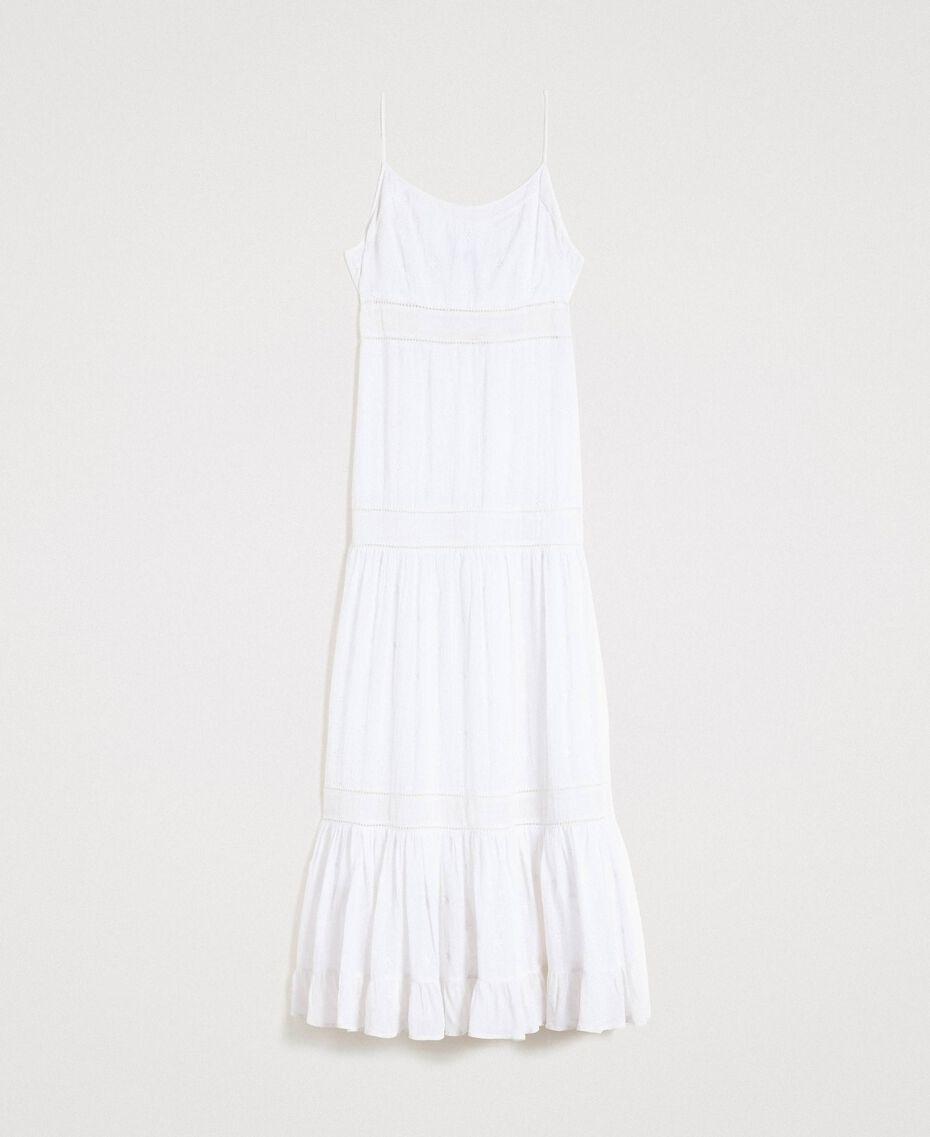 Robe longue avec broderie anglaise Blanc Femme 191LB2EAA-0S