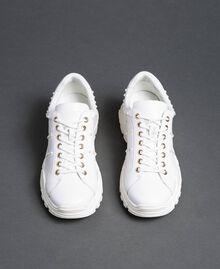 Scarpe running in pelle laminata con perle Bianco Donna 192TCP066-05