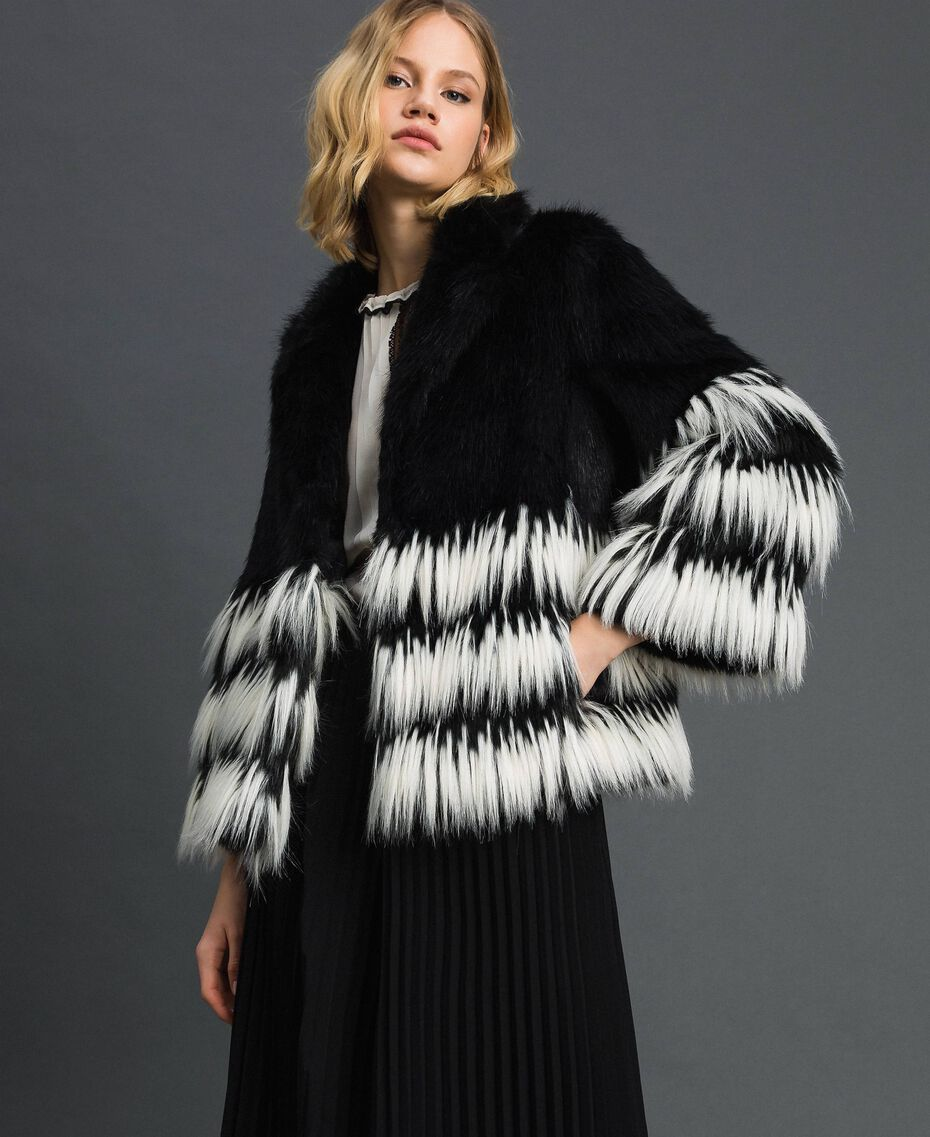 Two-tone faux fur jacket Black Woman 192TP2391-02