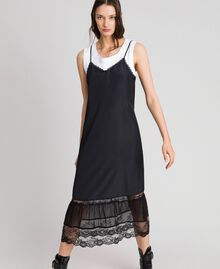 Long slip dress with lace and top Black Woman 192TP2572-01
