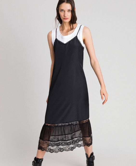 Длинное платье-комбинация с кружевом и топом