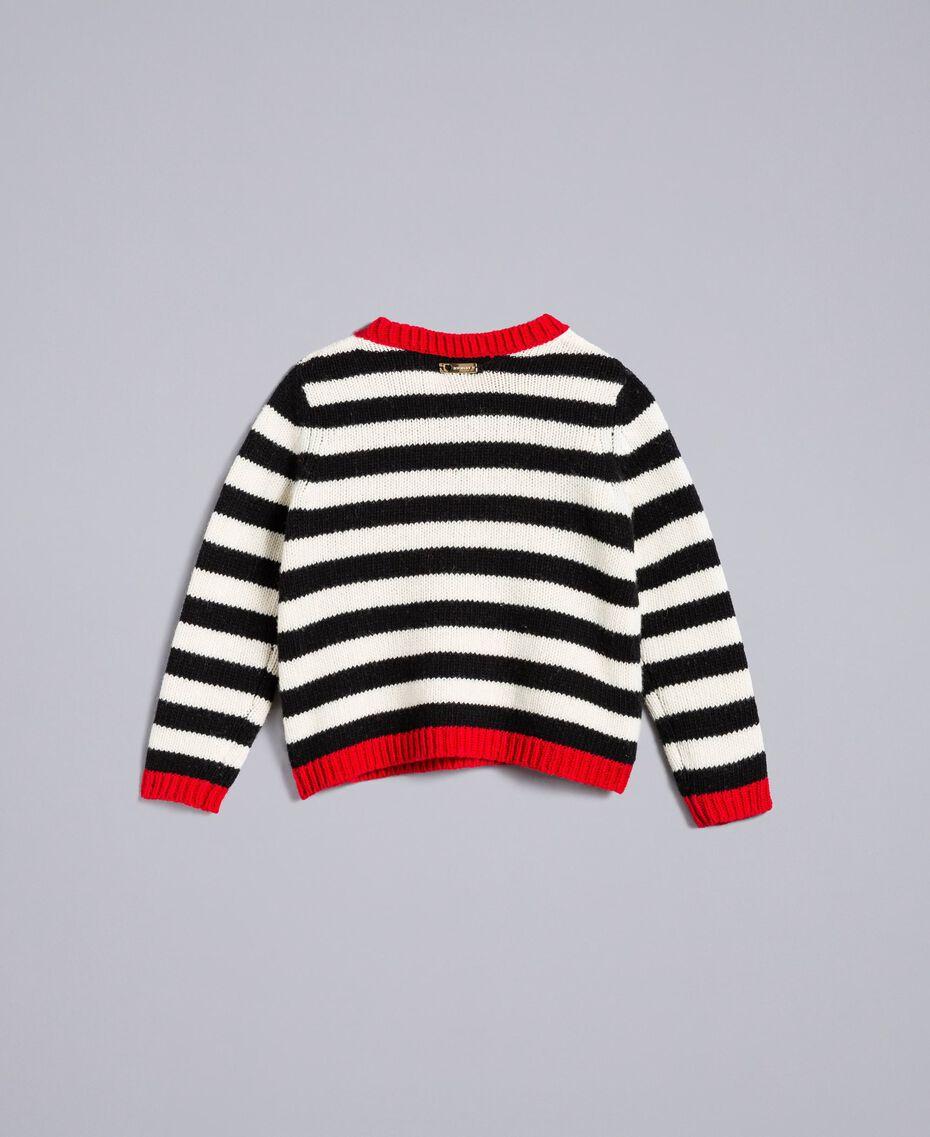 Pull en laine mélangée rayée Bicolore Noir / Blanc Cassé Enfant FA83GA-0S