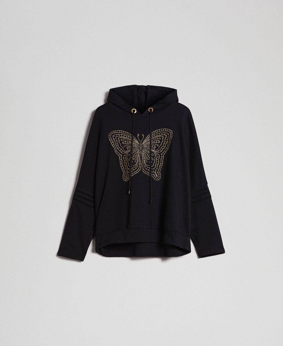 Felpa con ricamo a farfalla Nero Donna 192TT2133-0S