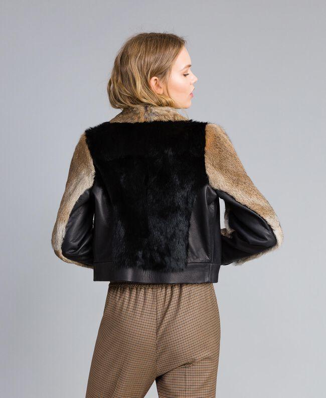 Zweifarbige Jacke aus Leder und Fell Schwarz Frau TA82AC-03