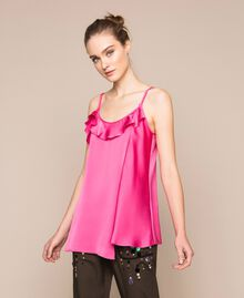 Asymmetric satin top with frills Black Woman 201ST2032-01