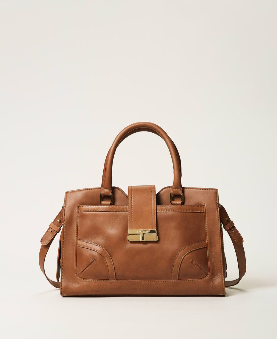 Leather shopper with buckle Leather Brown Woman 202TB7124-03