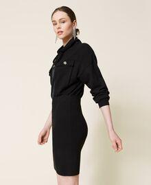 Robe en maille avec empiècements en satin Noir Femme 212AP3191-02