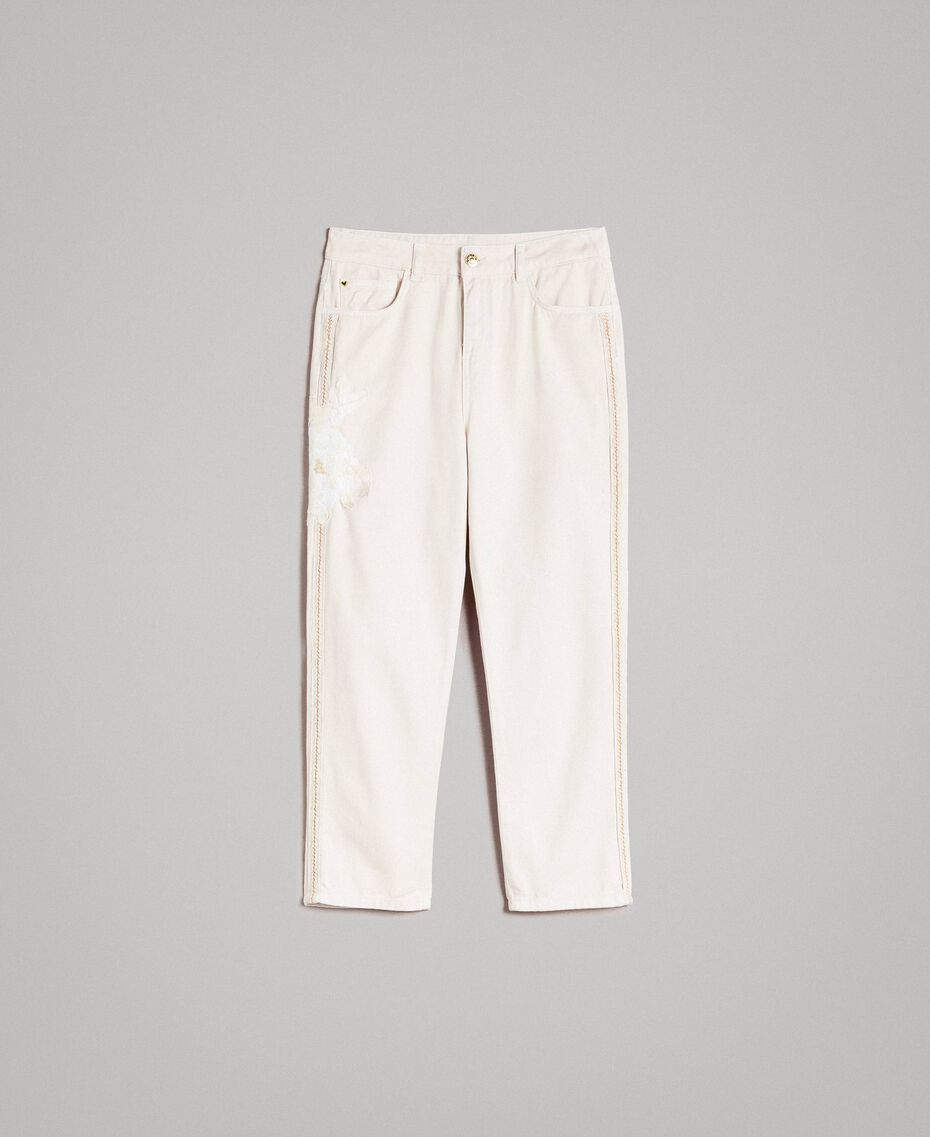 """Girlfriend trousers with embroideries """"Shell"""" Beige Woman 191MT2192-0S"""