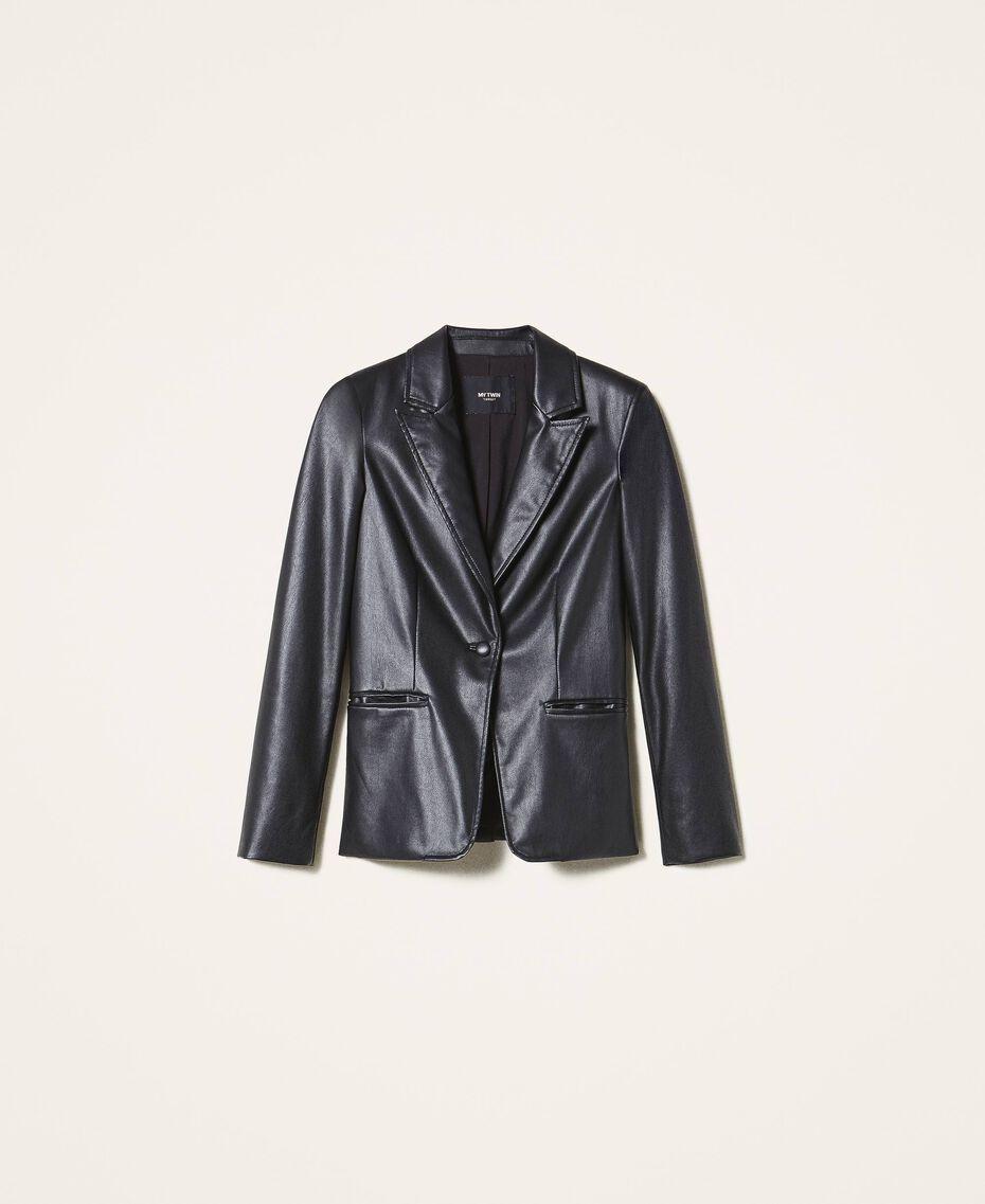 Faux leather blazer Black Woman 202MP2092-0S