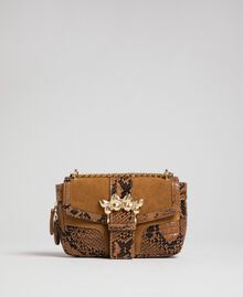 Small Rebel shoulder bag in suede and leather Brandy Python Print Woman 192TO8240-02