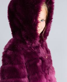 "Faux fur reversible jacket ""Grape"" Purple / ""Bougainvillea"" Pink Gradient Print Child GA82AR-04"