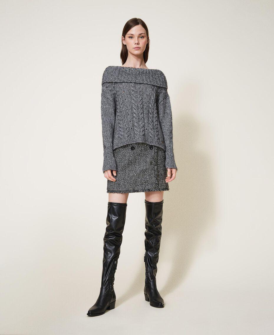 Pull tricoté dans un jeu de points fantaisie et de torsades Gris «Lurex» Femme 202TT3112-01