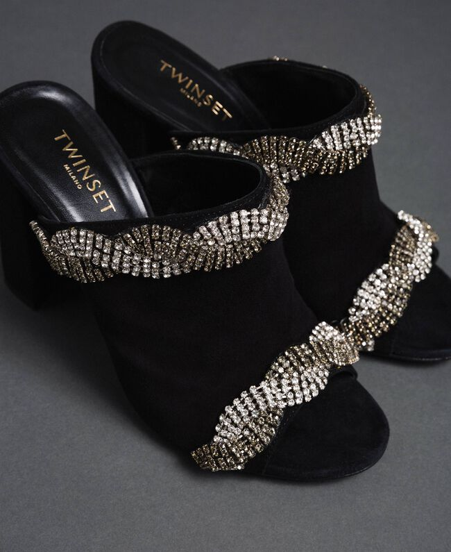 Suede mules with rhinestones Black Woman 192TCP12A-01