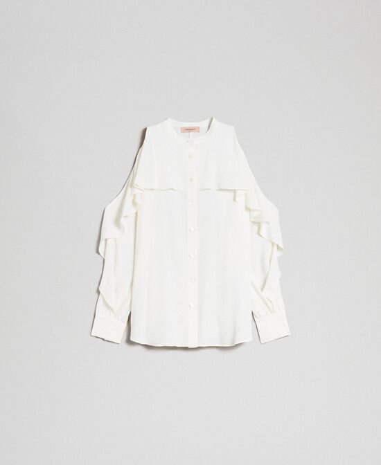 Camicia in crêpe de Chine con volant