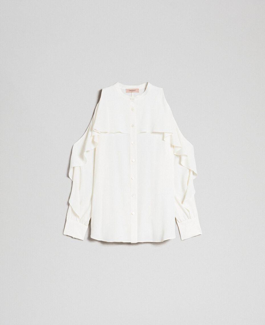 Camicia in crêpe de Chine con volant Bianco Neve Donna 192TT2432-0S