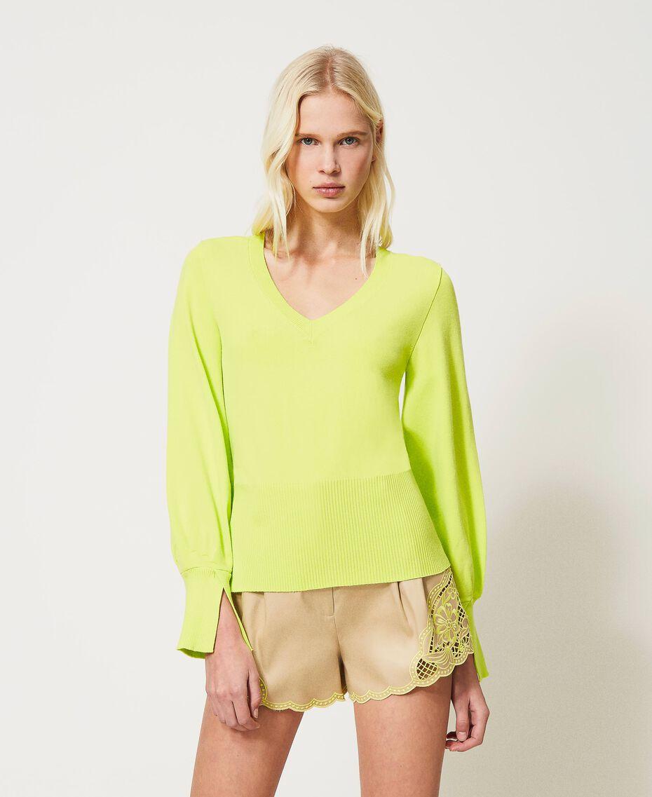 "Jersey sin costuras con mangas amplias Amarillo ""Led"" Mujer 211TT3071-01"