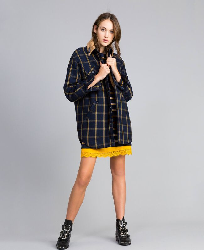 Tartan jacket Bicolor Blue Night / Gold Fancy Tartan Woman YA82EP-01