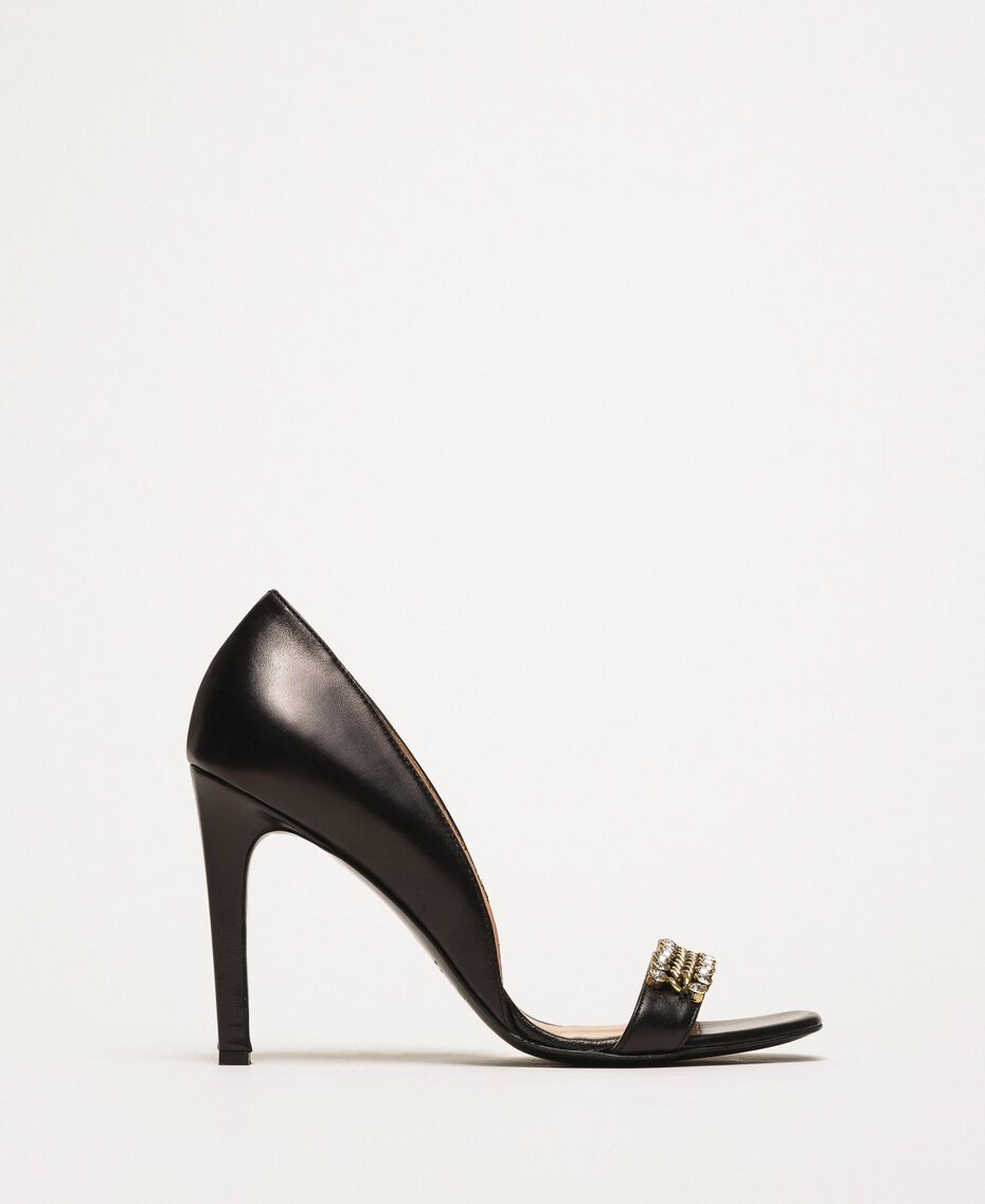 Stiletto heel sandals with bezels Black Woman 201TCP090-02