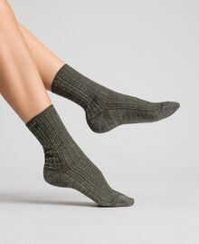 "Ribbed socks with lurex and logo ""Colonial"" Green Woman 192TO5418-0S"