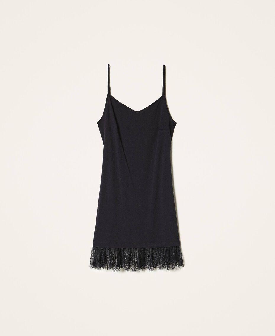 Top long avec dentelle Noir Femme 202TP2791-0S