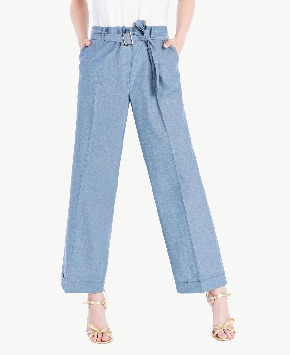 Cropped trousers Light Blue Denim Woman TS82YB-01