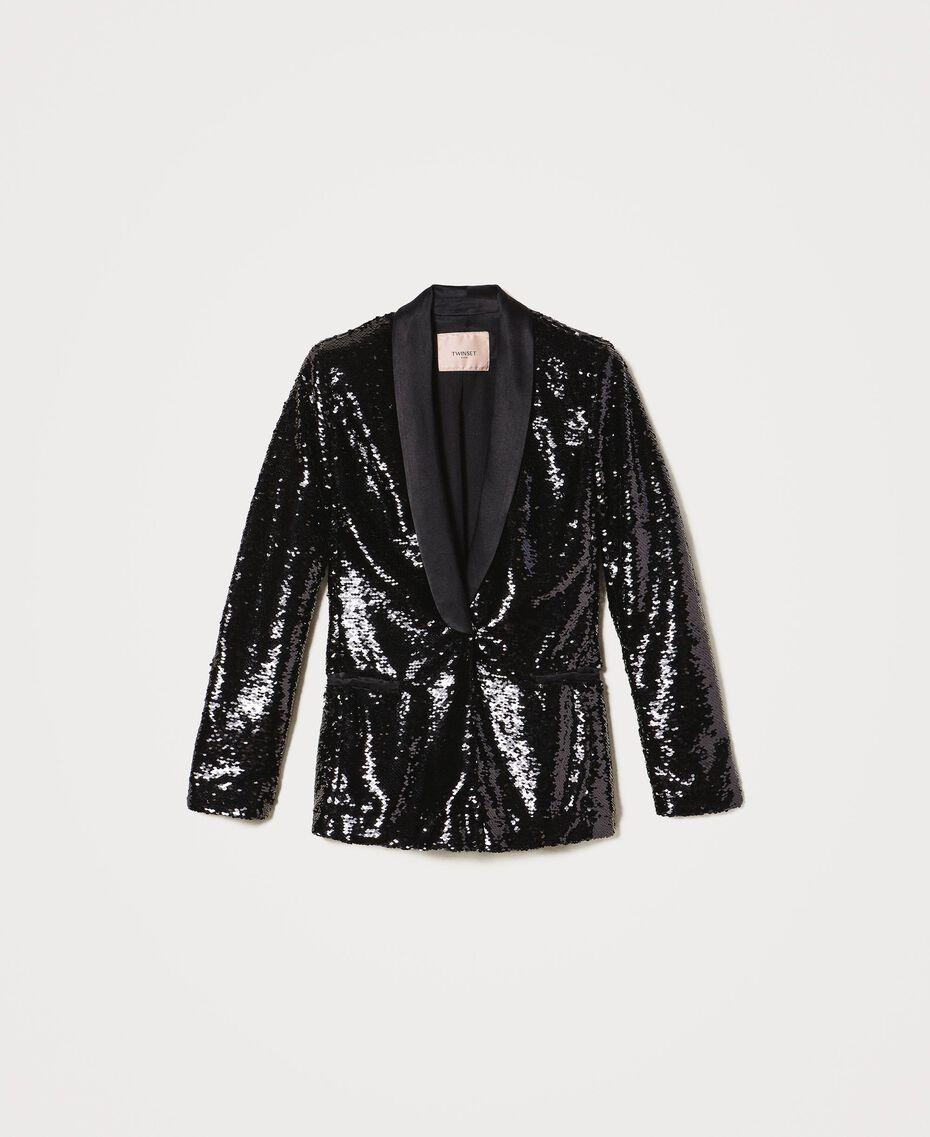 Full sequin jacket Black Woman 202TP2110-0S