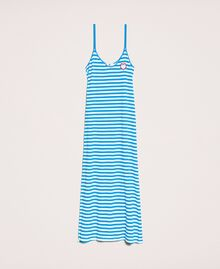 "Striped terry cloth long dress Two-tone ""Bay"" Blue / Optical White Woman 201LM2LQQ-0S"