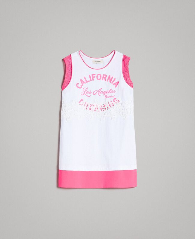 "Mini jersey dress with lace and print Two-tone Optical White / ""Crystal Pink"" Child 191GJ2044-01"