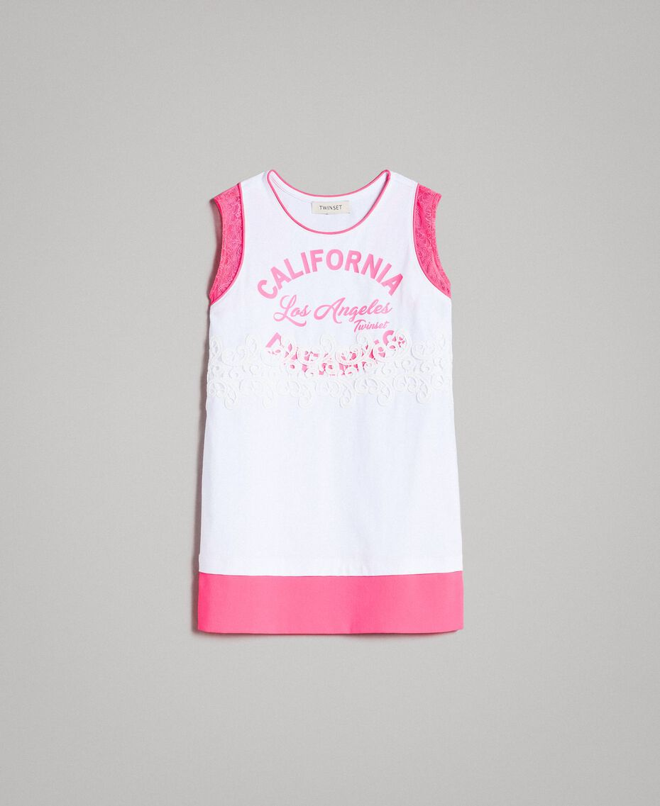 """Mini jersey dress with lace and print Two-tone Optical White / """"Crystal Pink"""" Child 191GJ2044-01"""