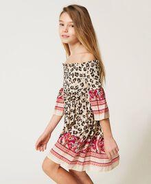 Off-shoulder animal print dress Leopard Spot & Paisley Print Child 211GJ2246-04
